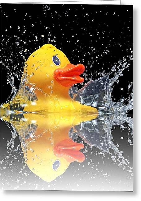 Yellow Duck Greeting Card by Manfred Lutzius
