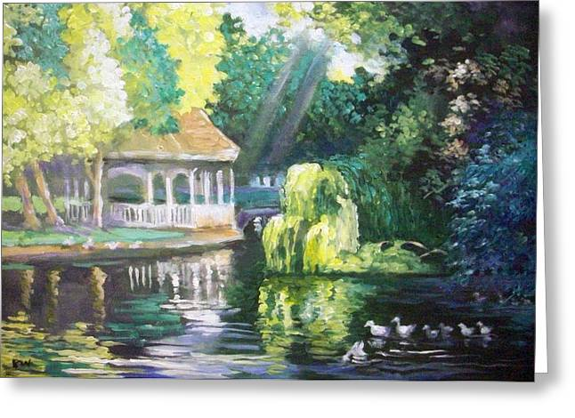 Greeting Card featuring the painting Duck Pond Stephens Green  Park Dublin by Paul Weerasekera