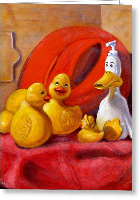Duck Soap With Red Hat Greeting Card