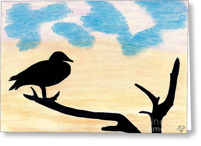 Greeting Card featuring the drawing Duck Sunset by D Hackett