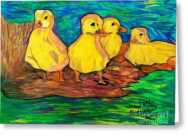 Ducklings Out By The Water Greeting Card