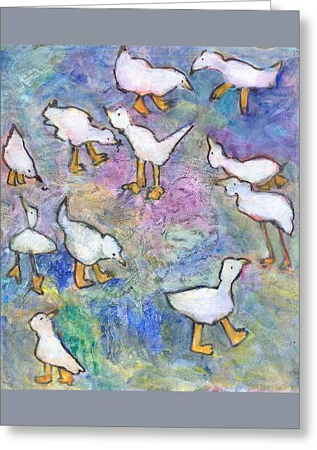 Greeting Card featuring the mixed media Ducks by Catherine Redmayne