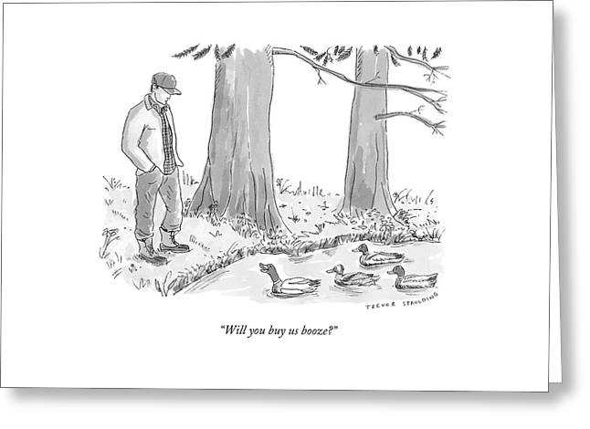 Ducks In A Pond Speak To A Man Greeting Card