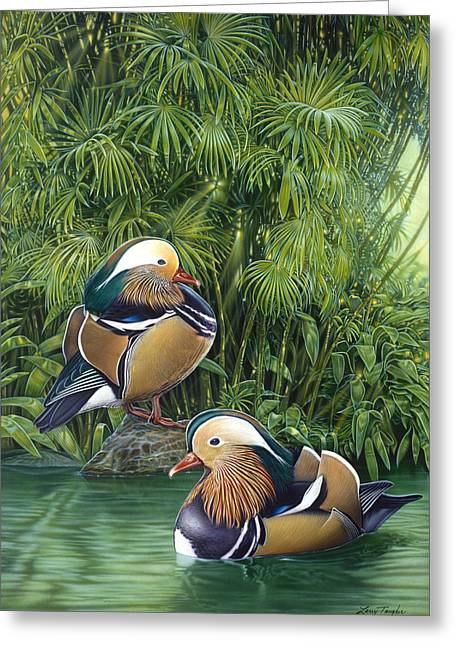 Ducks Greeting Card by Larry Taugher