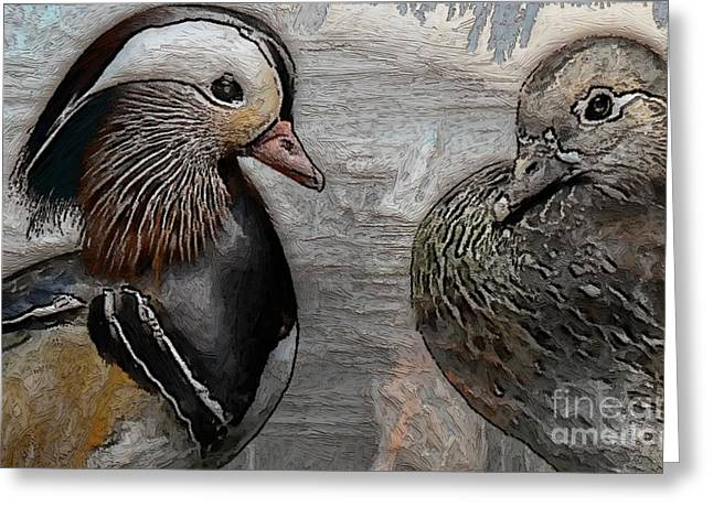 Ducks - Mandarin Ducks  Greeting Card by Liane Wright