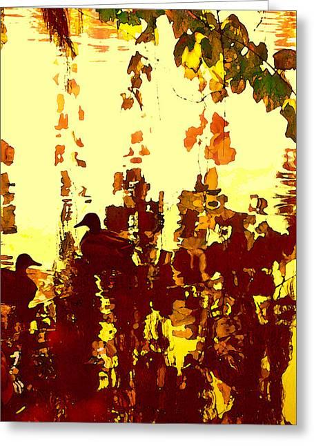 Ducks On Red Lake 2 Greeting Card by Amy Vangsgard