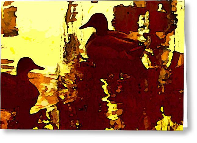 Ducks On Red Lake 3 Greeting Card by Amy Vangsgard