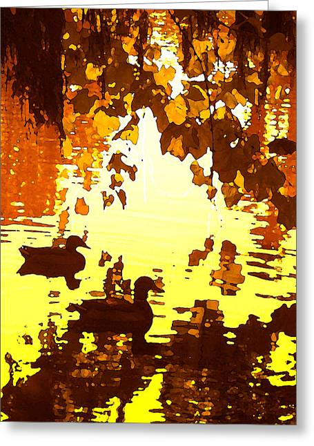 Ducks On Red Lake B Greeting Card by Amy Vangsgard