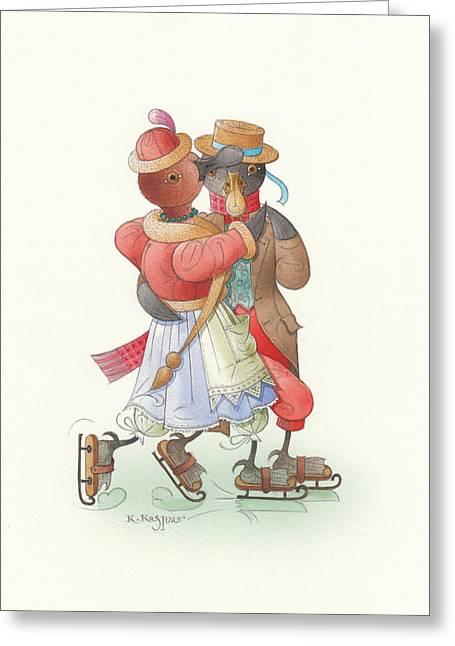 Ducks On Skates 02 Greeting Card by Kestutis Kasparavicius