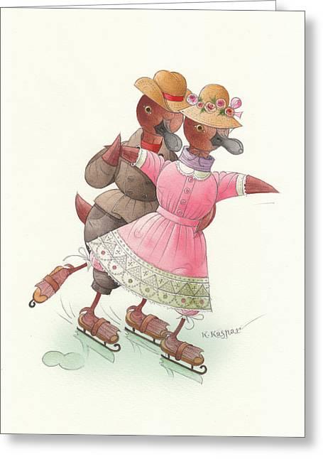 Ducks On Skates 03 Greeting Card by Kestutis Kasparavicius