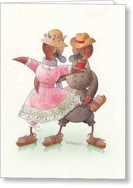 Ducks On Skates 07 Greeting Card by Kestutis Kasparavicius