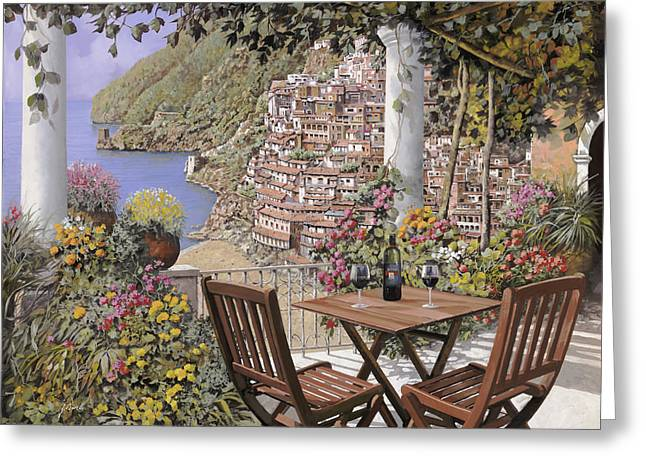 due bicchieri a Positano Greeting Card by Guido Borelli