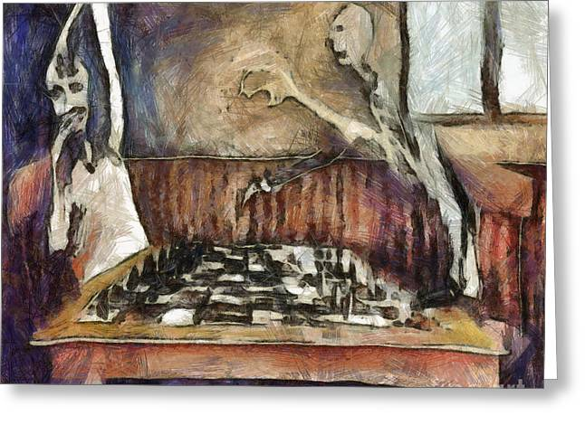 Duel Of The Chess Players Greeting Card