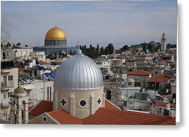 Dueling Faith In Jerusalem Greeting Card