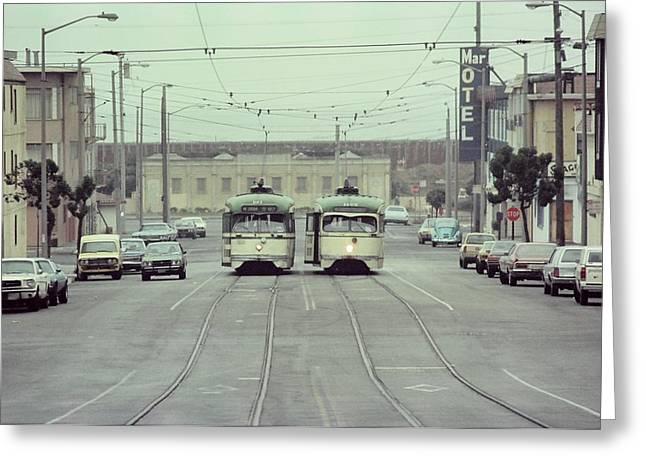 N Judah Dueling Streetcars.  End Of Judah Street.  1970s. Greeting Card