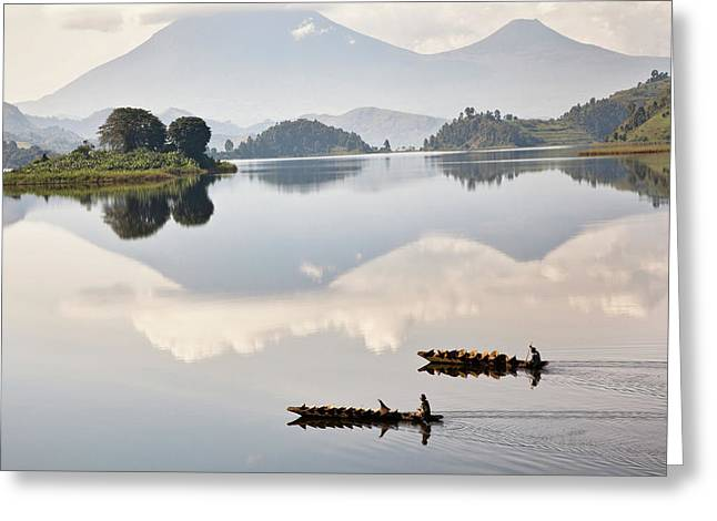 Dugout Canoe Floating On Lake Mutanda Greeting Card