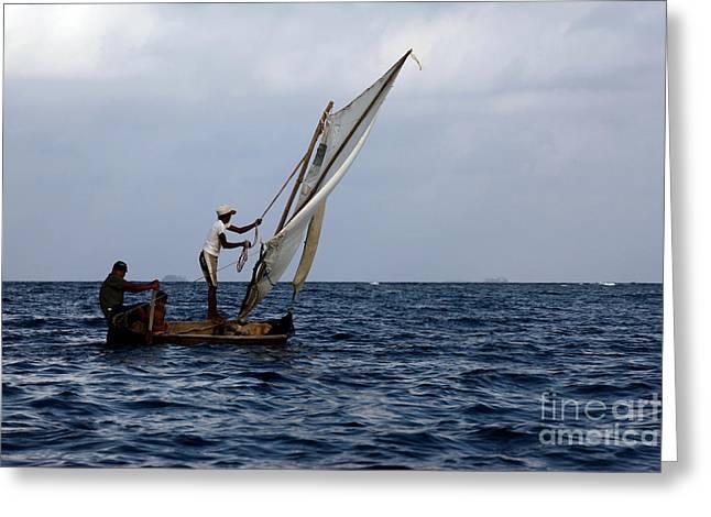 Dugout Sailing Canoe San Blas Islands Panama Greeting Card
