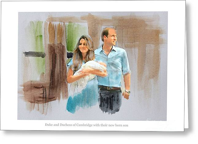 Duke And Duchess Of Cambridge With Their New Son Greeting Card by Roger Lighterness