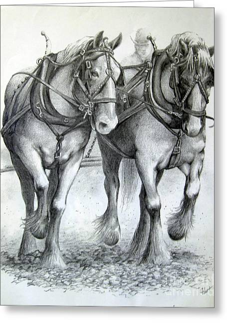 Greeting Card featuring the drawing Duke And Molly by Carol Hart