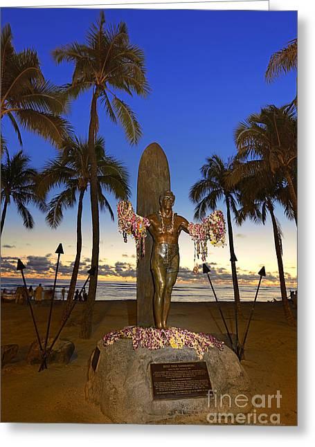 Duke Kahanamoku Statue At Dusk Greeting Card by Aloha Art