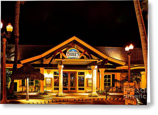 Duke's Restaurant Front - Huntington Beach Greeting Card by Jim Carrell