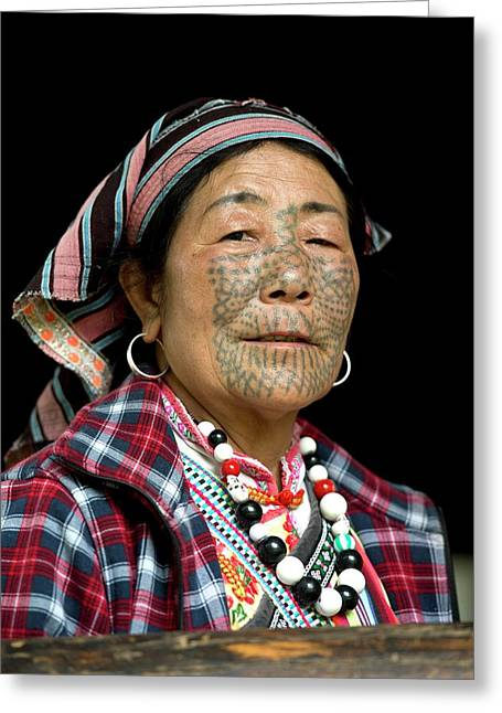Dulong Woman With Facial Tattoos Greeting Card