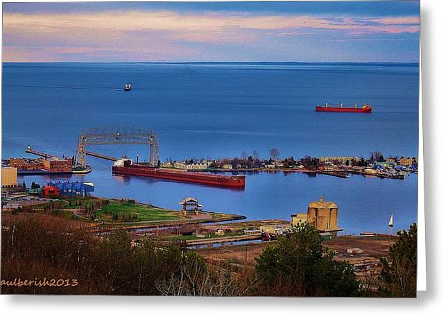 Duluth Harbor Greeting Card by Paul Berish