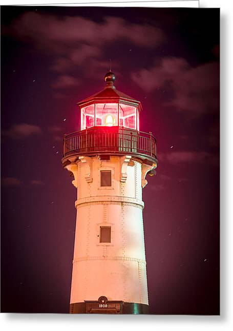 Greeting Card featuring the photograph Duluth North Breakwater Lighthouse by Mark David Zahn