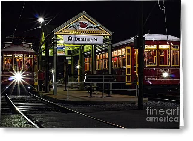 Dumaine St. Trolly In New Orleans Greeting Card by Kent Taylor