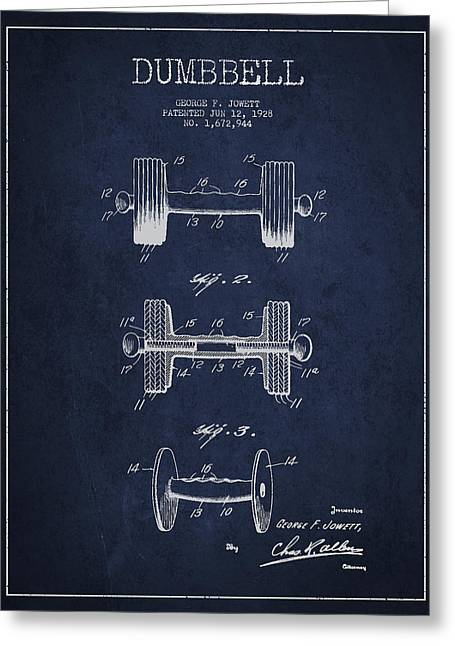 Dumbbell Patent Drawing From 1927 Greeting Card