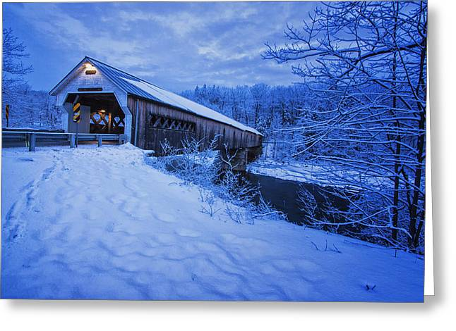 Dummerston Bridge In Winter Greeting Card