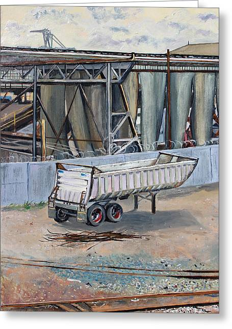 Greeting Card featuring the painting Dump Truck Bin And Steel Mill by Asha Carolyn Young