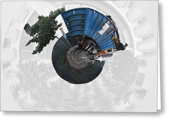 Dump Truck On A Wee Planet Greeting Card