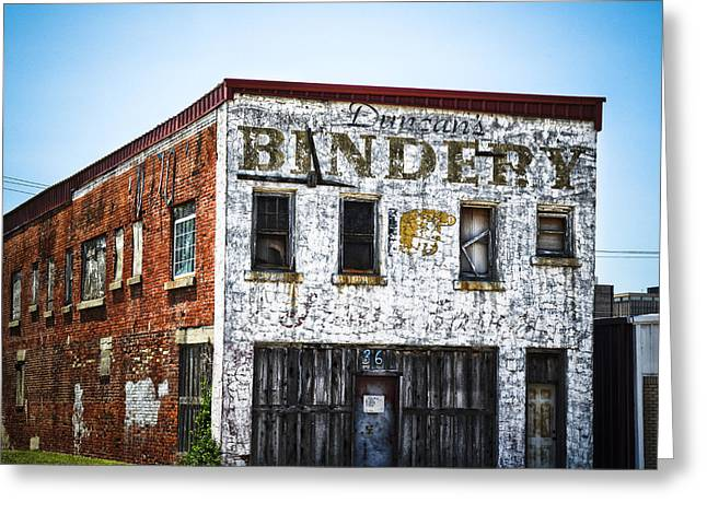 Duncan Bindery Building Profile Greeting Card by David Waldo