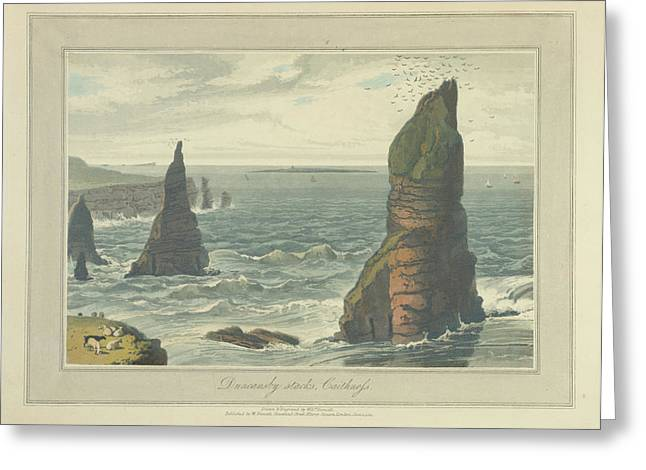 Duncansby Stacks In Caithness Greeting Card by British Library