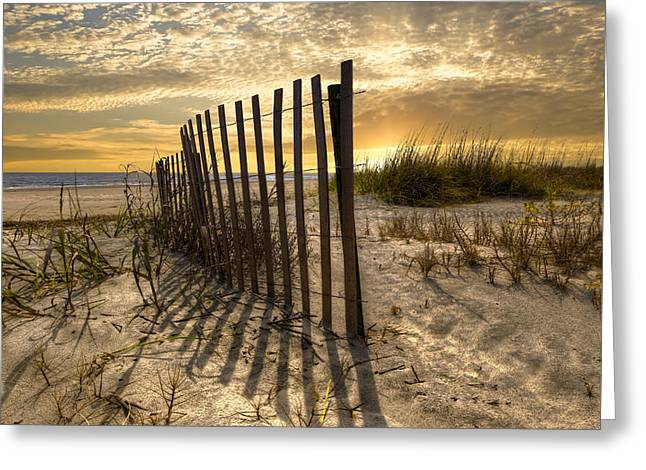 Dune Fence At Sunrise Greeting Card by Debra and Dave Vanderlaan