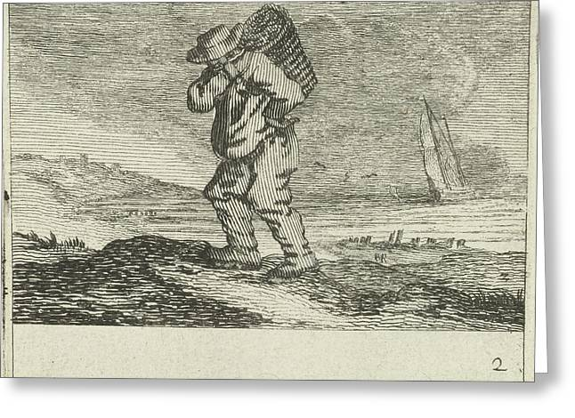 Dune Landscape With A Fisherman, Gillis Van Scheyndel Greeting Card