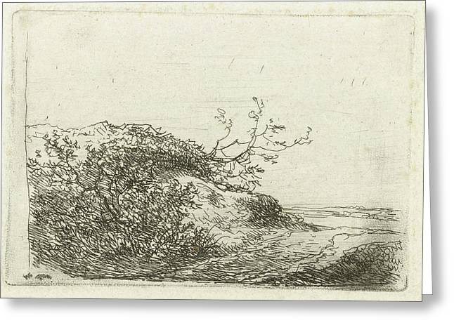 Dune Landscape With Bushes, Andreas Schelfhout Greeting Card