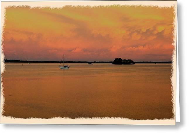 Dunedin Sunset Boat Greeting Card by Wynn Davis-Shanks