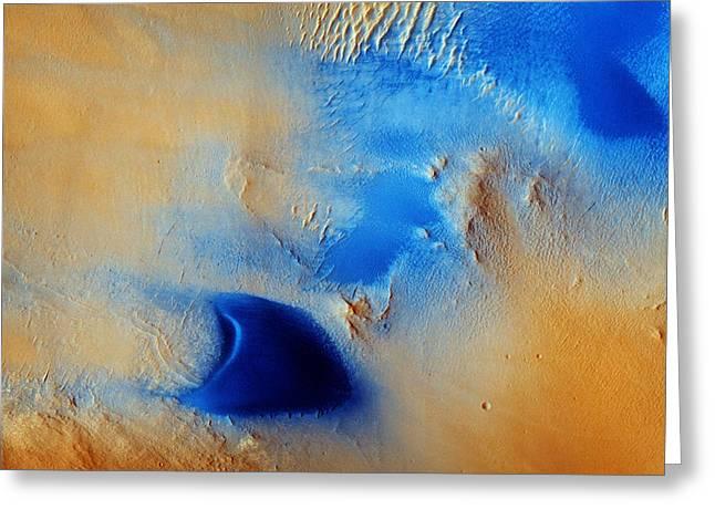 Dunes And Wind Streaks In Arabia Terra Greeting Card by Celestial Images