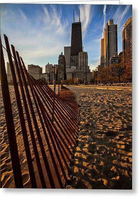 Dunes Fence Leads To John Hancock Building At Sun Rise Greeting Card