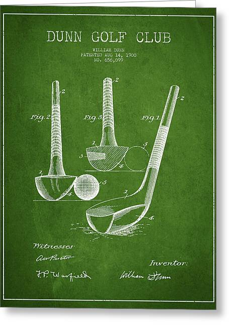 Dunn Golf Club Patent Drawing From 1900 - Green Greeting Card