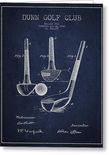 Dunn Golf Club Patent Drawing From 1900 - Navy Blue Greeting Card