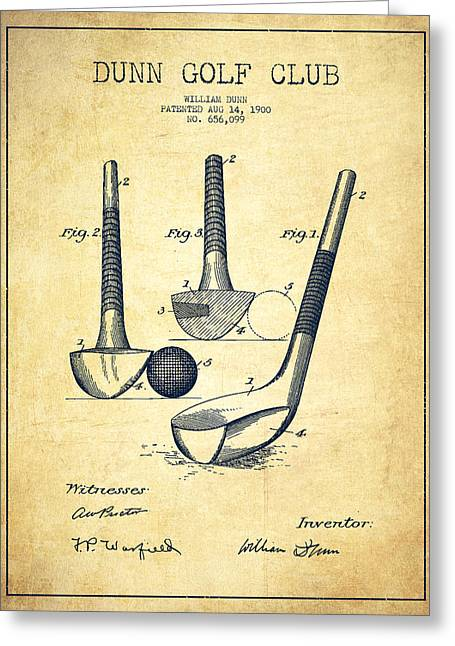Dunn Golf Club Patent Drawing From 1900 - Vintage Greeting Card