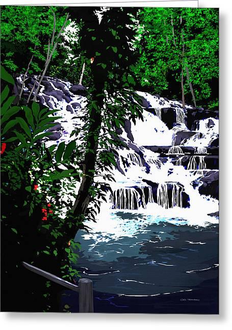 Dunns River Falls Jamaica Greeting Card by MOTORVATE STUDIO Colin Tresadern