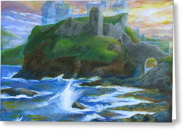 Dunscaith Castle - Shadows Of The Past Greeting Card by Samantha Geernaert