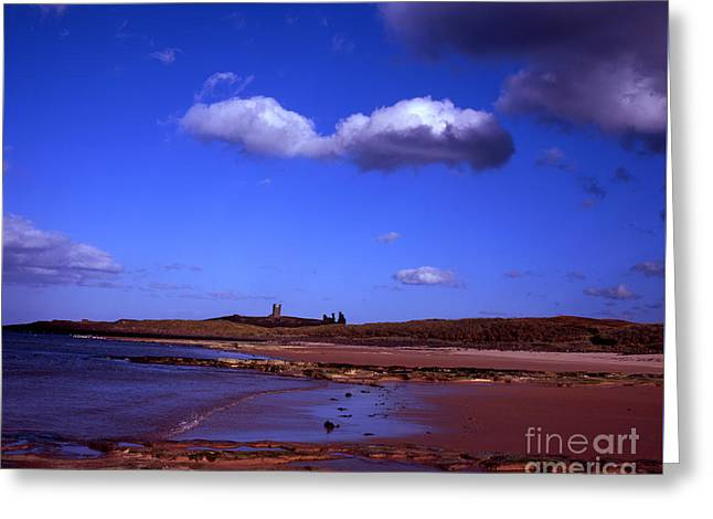 Dunstanburgh Castle From Beach At Embleton Bay Embleton Northumberland England Greeting Card by Michael Walters