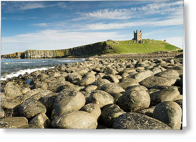 Dunstanburgh Castle Panorama Greeting Card by David Head