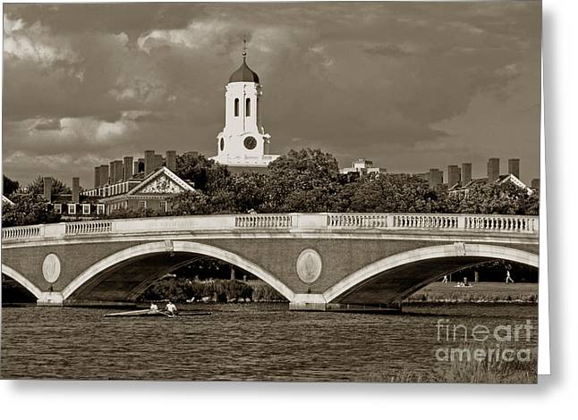 Weeks Bridge Charles River Bw Greeting Card