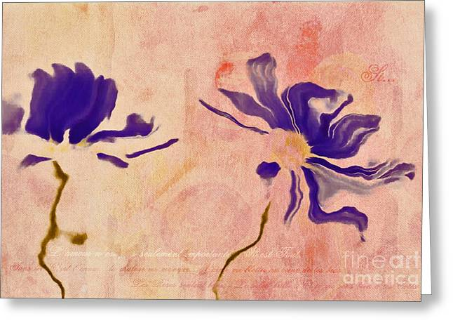Duo Daisies - 01c2t5bc Greeting Card by Variance Collections